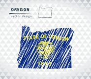 Oregon vector map with flag inside isolated on a white background. Sketch chalk hand drawn illustration stock illustration