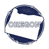 Oregon vector map. Grunge rubber stamp with the name and map of Oregon, vector illustration. Can be used as insignia, logotype, label, sticker or badge of USA Stock Images