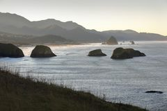 Oregon wybrzeże, działo plaża, świt obrazy royalty free