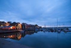 Oregrund-Hafen-Sommernacht Schweden Stockbild