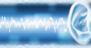 Oreille avec SoundWave Images stock