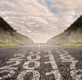 Oreille 2017 peinte sur la route goudronnée Photographie stock