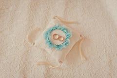 Oreiller bleu et blanc avec des anneaux de mariage Photographie stock