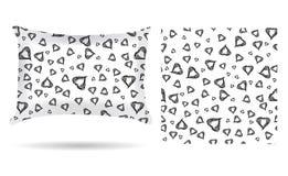 Oreiller décoratif avec la taie d'oreiller de coeurs dans un style élégant et doux sur un fond blanc D'isolement sur le blanc Ele illustration libre de droits