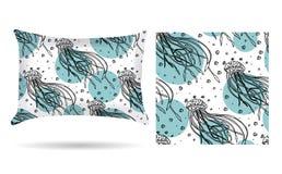 Oreiller décoratif avec la taie d'oreiller de méduses dans un style élégant et doux sur un fond blanc D'isolement sur le blanc Co illustration de vecteur