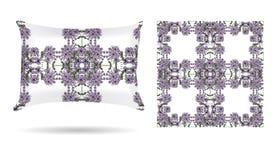 Oreiller décoratif avec la taie d'oreiller modelée florale dans un style élégant et doux sur un fond blanc D'isolement sur le bla illustration de vecteur