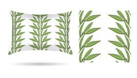 Oreiller décoratif avec la taie d'oreiller modelée florale de feuilles dans un style sensible élégant sur un fond blanc D'isoleme illustration de vecteur