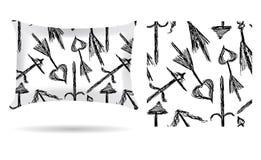 Oreiller décoratif avec la taie d'oreiller tirée par la main de flèches dans un style créatif sur un fond blanc D'isolement sur l illustration de vecteur