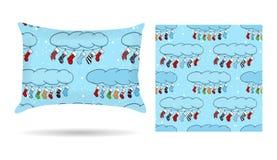 Oreiller décoratif d'amoureux avec la taie d'oreiller modelée à l'arrière-plan de bleu de style de bande dessinée D'isolement sur illustration de vecteur