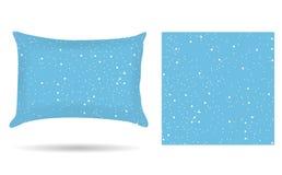 Oreiller décoratif de taie d'oreiller dans le style de fond abstrait de bleu d'hiver D'isolement sur le blanc élément de concepti illustration stock