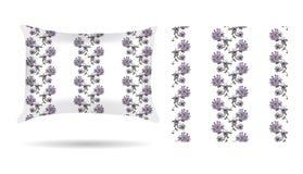 Oreiller décoratif floral avec la taie d'oreiller modelée dans un style élégant et doux sur un fond blanc D'isolement sur le blan illustration libre de droits