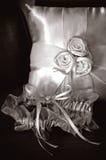 Oreiller nuptiale de porteur de jarretière et de boucle Images libres de droits