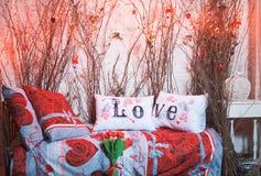Oreillers blancs d'amour Photographie stock libre de droits