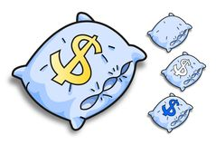 Oreillers bleus de vecteur Images libres de droits