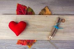 Oreillers et crayon en forme de coeur (concept de valentine) Image stock