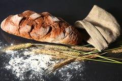 Oreilles croustillantes rustiques de pain et de blé sur une obscurité Photographie stock libre de droits