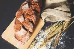 Oreilles croustillantes rustiques de pain et de blé sur une obscurité Photos stock