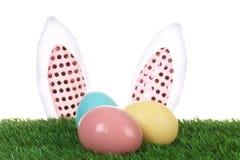 Oreilles décoratives mignonnes de lapin de Pâques et oeufs teints sur l'herbe verte image stock