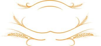 Oreilles d'or de blé sur les rubans Images stock