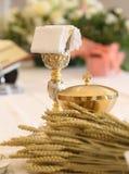 oreilles de blé et du calice pendant la masse photographie stock