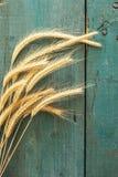 Oreilles de blé sur le fond en bois photo stock
