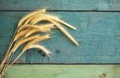 Oreilles de blé sur le fond en bois photos libres de droits
