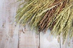 Oreilles de blé sur le Tableau en bois Image stock