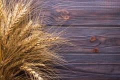 Oreilles de blé sur le Tableau en bois Gerbe de blé au-dessus du fond en bois Concept de moisson Photos libres de droits