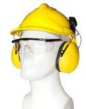 Orejera, gafas y casco Imágenes de archivo libres de regalías
