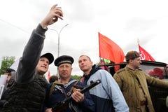 Orel, Rússia - 9 de maio de 2017: Selebration de Victory Day Homens novos m Fotos de Stock Royalty Free
