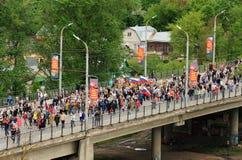 Orel, Rússia - 9 de maio de 2017: Selebration de Victory Day Multidão enorme Fotografia de Stock