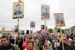 Orel, Rússia - 9 de maio de 2017: Selebration de Victory Day Multidão grande o Fotos de Stock Royalty Free