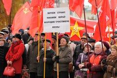 Orel, Rússia - 7 de novembro de 2015: Reunião do partido comunista Povos Imagens de Stock