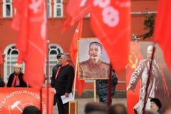 Orel, Rússia - 7 de novembro de 2015: Reunião do partido comunista stalin Fotografia de Stock Royalty Free