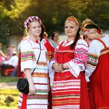 Orel Rosja, Czerwiec, - 24, 2016: Turgenev Fest dziewczyny wewnątrz i kobiety Fotografia Stock