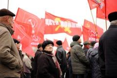 Orel Rosja, Listopad, - 07, 2016: Komunistyczny spotkanie Starszy peop Zdjęcie Stock