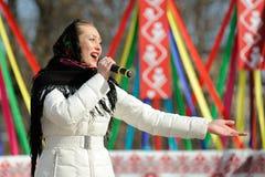 Orel Rosja, Luty, - 26, 2017: Maslenitsa fest dziewczyna w Russi Obraz Stock
