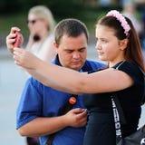 Orel, Rosja, Sierpień 05, 2017: Miasto dzień Piękna dziewczyna w wzrastał Zdjęcie Stock