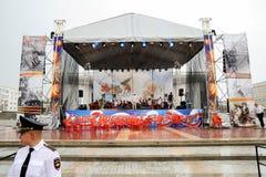 Orel, Rosja, Sierpień 05, 2017: Miasto dzień Policjanta strzeżenie scen Obraz Stock
