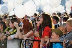 Orel Rosja, Sierpień, - 05, 2016: Orel miasta dzień Dziewczyny z bielem Obraz Stock