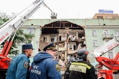 Orel, Rosja, Sierpień 29, 2017: Zawalenie się stary mieszkanie dom Zdjęcie Royalty Free