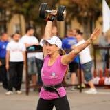 Orel, Rosja, Wrzesień 5, 2015: Nikli dziewczyny weightlifter dźwignięcia Zdjęcie Royalty Free