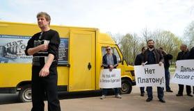 Orel, Rusia - 28 de abril de 2017: Encuentro de los conductores Manifestantes con Imagen de archivo libre de regalías
