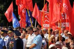 Orel, Rusia - 5 de agosto de 2015: veteranos de guerra con las medallas y el comm Imagen de archivo
