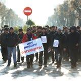 Orel, Rusia - 29 de noviembre de 2015: Protesta rusa de los conductores de camión Fotos de archivo libres de regalías