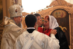 Orel, Rusia - 13 de septiembre de 2015: Día de la familia de la iglesia ortodoxa M fotos de archivo