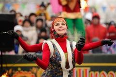 Orel, Rusland, 18 Februari, 2018: Maslenitsa Carnaval De brand toont Royalty-vrije Stock Foto