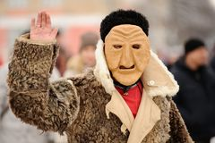 Orel, Rusland, 18 Februari, 2018: Maslenitsa Carnaval Mens in sca Royalty-vrije Stock Fotografie