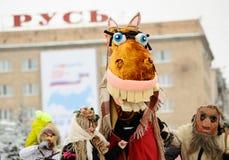 Orel, Rusland, 18 Februari, 2018: Maslenitsa Carnaval mensen binnen Royalty-vrije Stock Fotografie