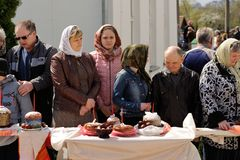 Orel, Russia - April 30, 2016: Paschal blessing of Easter basket Royalty Free Stock Photography